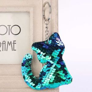 Accessories - NEW Green Iridescent Sequin Cat Keychain Bag Charm